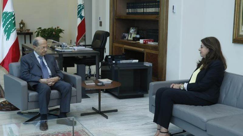 الرئيس عون التقى وزيرة المهجرين في حكومة تصريف الأعمال غادة شريم